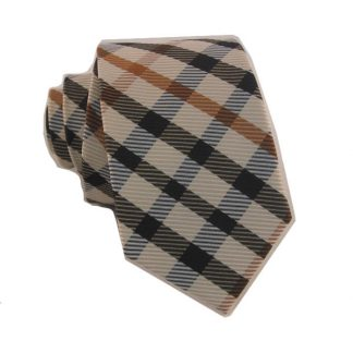"49"" Boy's Self Tie Cream, Black, Copper Plaid Cotton Tie 10268-0"