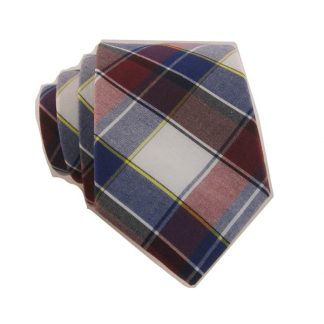 "49"" Boy's Self Tie Red and Blue Plaid Cotton 10269-0"