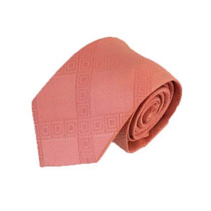 Salmon Criss Cross Tone on Tone Men's Tie w/Pocket Square 10497-0