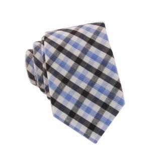 Light Blue and Black Gingham Pattern Skinny Men's Tie 10829-0