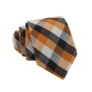 Orange, Black & White Gingham Pattern Skinny Men's Tie 10832-0