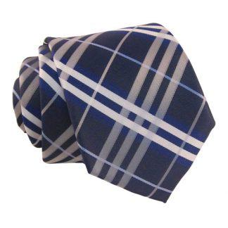Blue Gray & White Plaid Men's Tie w/ Pocket Square 1976