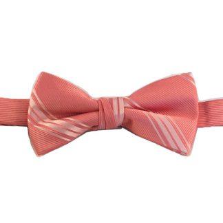Salmon Tone on Tone Stripe Banded Bow Tie 3604-0