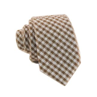 Brown and White Gingham Pattern Skinny Men's Tie 4676-0