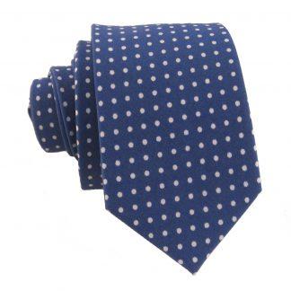 Blue w/ White Polka Dot Cotton Men's Skinny Tie 6206