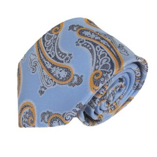 French Blue & Orange Paisley Men's Tie w/ Pocket Square 7196