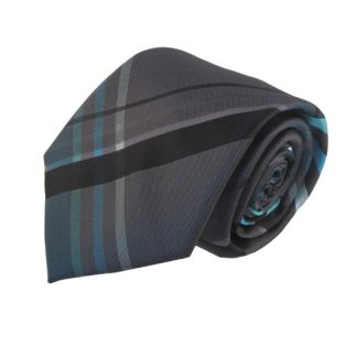Charcoal & Turquoise Large Plaid Men's Tie w/ Pocket Square 7793