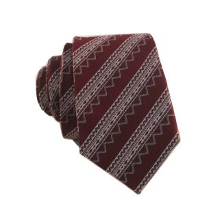 Burgundy and Silver Aztec Stripe Skinny Men's Tie 8070-0