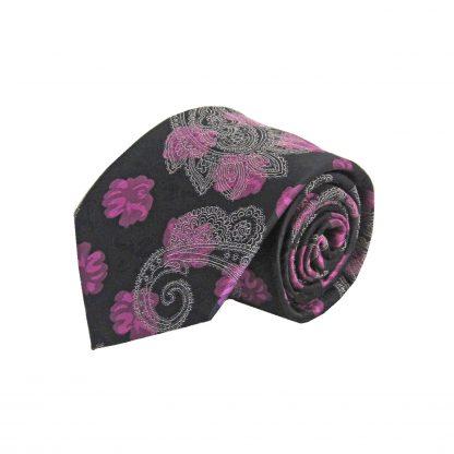 Fuchsia & Black Floral Paisley Men's Tie w/ Pocket Square 8175-0