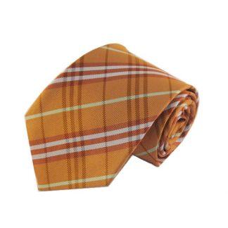 Orange, Yellow Plaid Men's Tie
