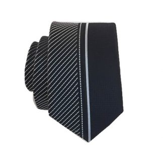 Black and Silver Panel Skinny Men's Tie 8674-0