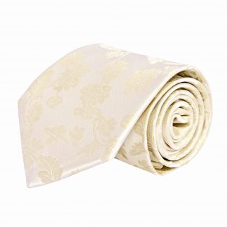 Cream and Taupe Floral Pattern Men's Tie w/Pocket Square 9967-0