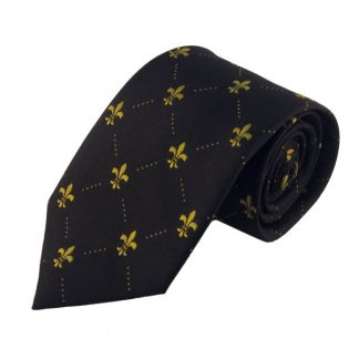 Black w/ Gold Fluerdelis Men's Tie 5796