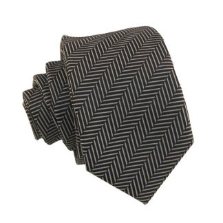 Black & White Line Striped Men's Skinny Tie w/ Pocket Square 10077
