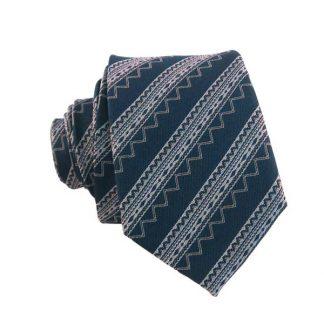 Teal & Silver Aztec Stripe Men's Skinny Tie 8069