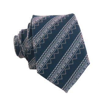 """49"""" Teal & Silver Aztec Stripe Boy's Tie 3316"""