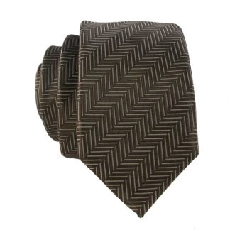 Brown Line Stripe Men's Skinny Tie w/ Pocket Square 8100