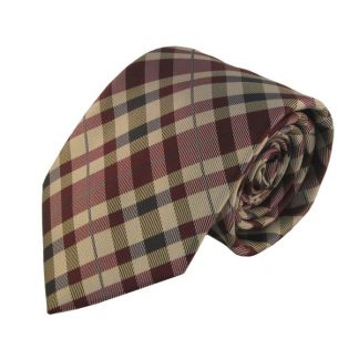 Burgundy & Khaki Small Plaid Men's Tie w/ Pocket Square 8173