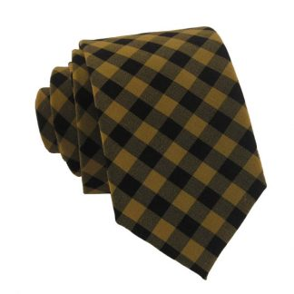 Copper and Black Gingham Skinny Men's Tie 5280