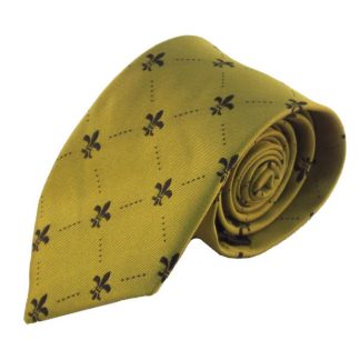 Gold w/ Black Fluerdelis Men's Tie 1208