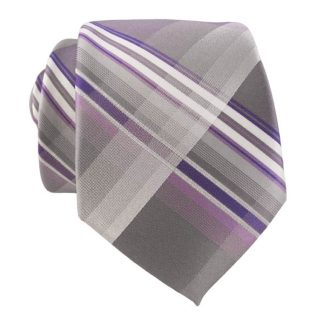 Gray & Purple Plaid Men's Skinny Tie w/ Pocket Square 9706