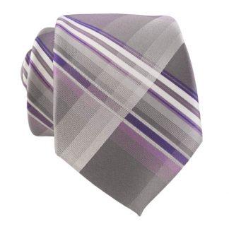 Gray & Purple Plaid Men's Skinny Tie w/ Pocket Square 9706