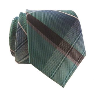 Green & Navy Large Plaid Skinny Men's Tie w/ Pocket Square 5909