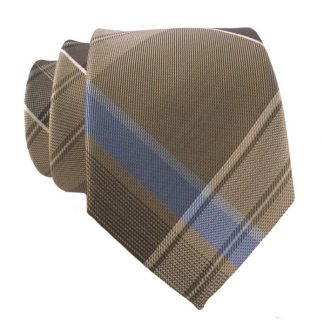 Khaki, Brown & Blue Plaid Men's Skinny Tie w/ Pocket Square 11002