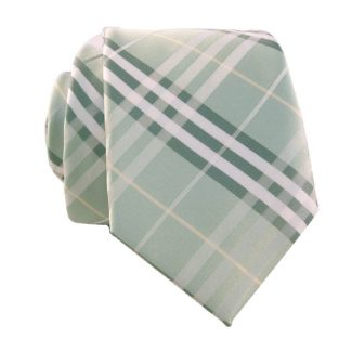 Mint& Green Plaid Men's Skinny Tie w/ Pocket Square 6530