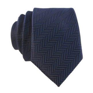 Navy Line Stripe Men's Skinny Tie w/ Pocket Square 6187