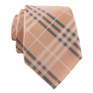 Pink , Grey & White Plaid Men's Skinny Tie w/ Pocket Square 1101