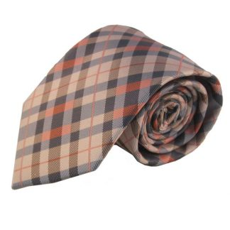 Salmon & Grey Small Plaid Men's Tie w/ Pocket Square 9227