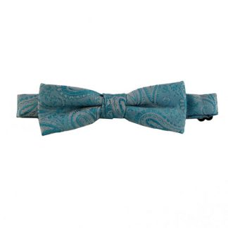 Turquoise Paisley Skinny Banded Bow Tie 1115