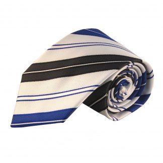 "63"" XL White, Light Blue & Black Stripe Men's Tie 3020"