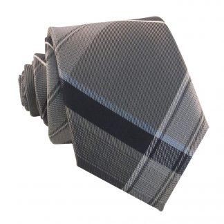 Gray & Blue Plaid Men's Skinny Tie w/ Pocket Square 5228