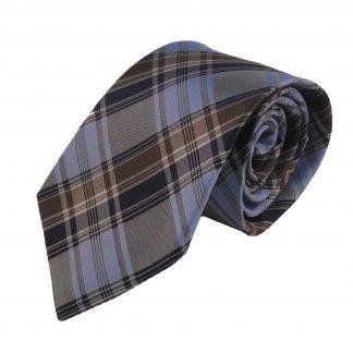 Navy, Blue & Grey Men's Plaid Silk Tie 5175
