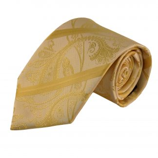 Yellow Paisley Stripe Men's Tie W/ Pocket Square 10082