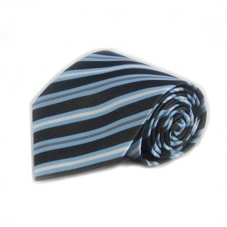 Charcoal, Light Blue, White Stripe Men's Tie