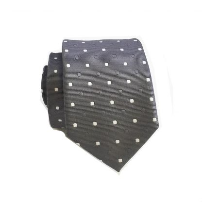 Charcoal with Silver Dot Skinny Men's Tie