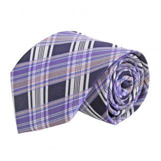 Lavender, Gray, Black Plaid Men's Tie 1544-0