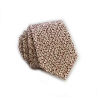 Burgundy, Cream Basket Weave Cotton Skinny Men's Tie