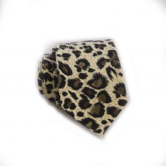 Leopard Print Cotton Skinny, Men's Tie