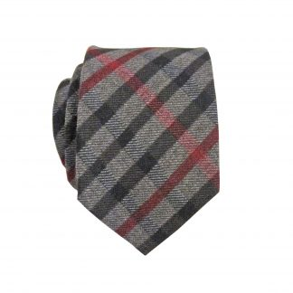Gray, Black, Red Criss Cross Pattern Cotton Skinny Men's Tie 1666-0