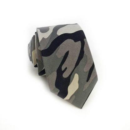 Tan, Gray Camoflage Cotton Skinny Men's Tie