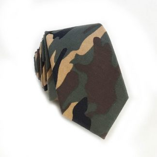 Khaki, Brown, Olive Camoflage Cotton Skinny Men's Tie