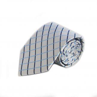 Silver, French Blue, Criss Cross Men's Tie
