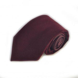 Burgundy Velvet Men's Tie w/ Pocket Square