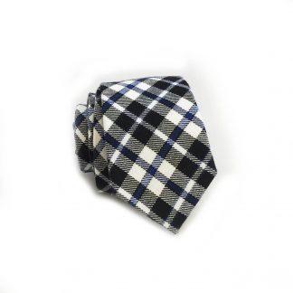 Blue, Navy Check Pattern Cotton Skinny Men's Tie