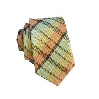 Yellow, Salmon, Sage Plaid Skinny Men's Tie