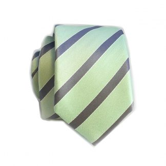 Mint and Charcoal Stripe Skinny Men's Tie w/Pocket Square